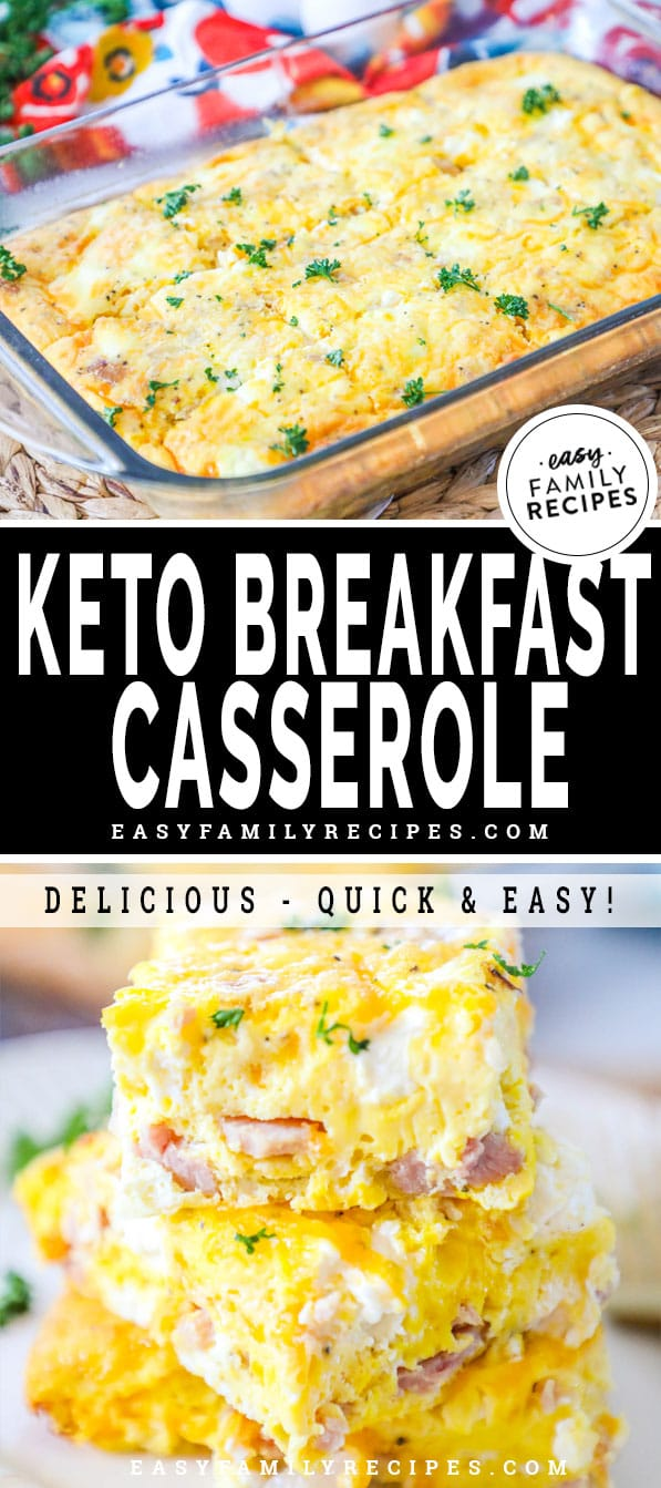 Keto Breakfast Casserole slices stacked up