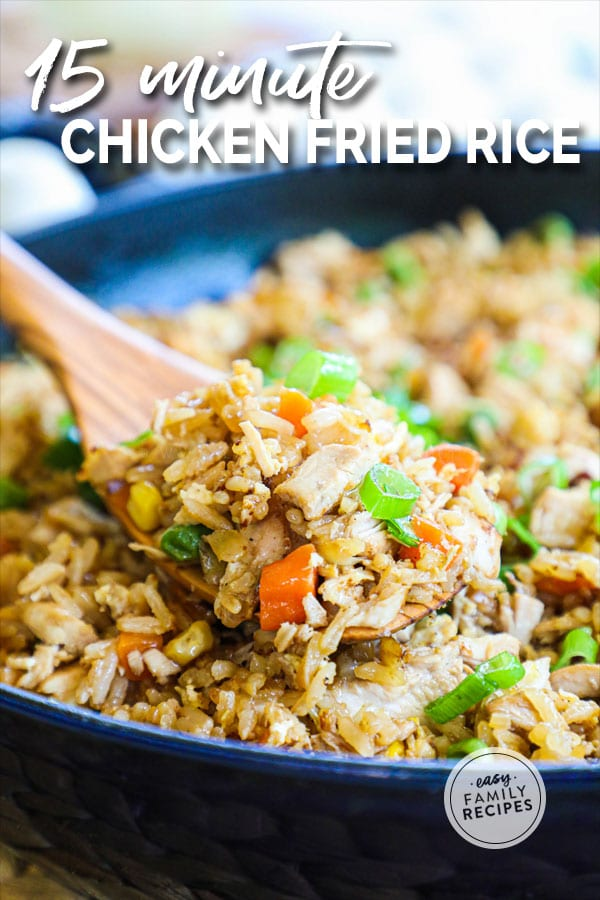 Chicken Fried Rice being lifted on a spatula