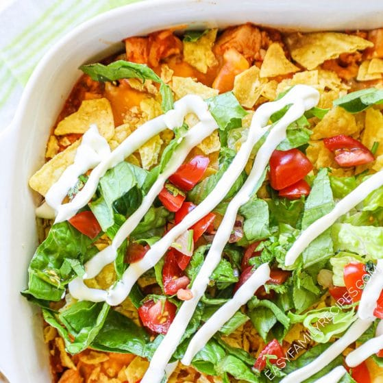 Close up of Chicken Taco Casserole Recipe in casserole dish