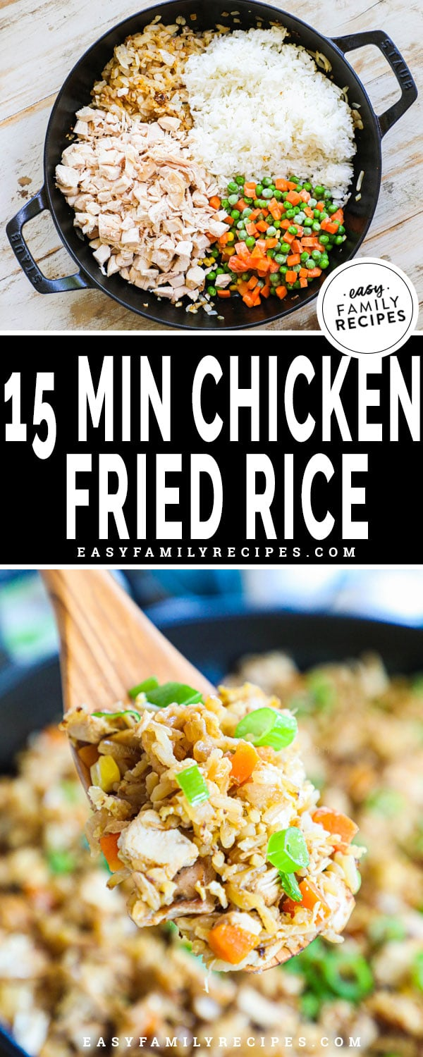 Ingredients for Chicken Fried Rice in a skillet including rice, mixed vegetables, onions, garlic, and rotisserie chicken