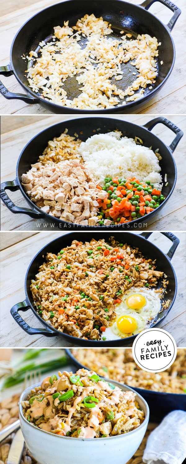 Process photos for how to make chicken fried rice with rotisserie chicken