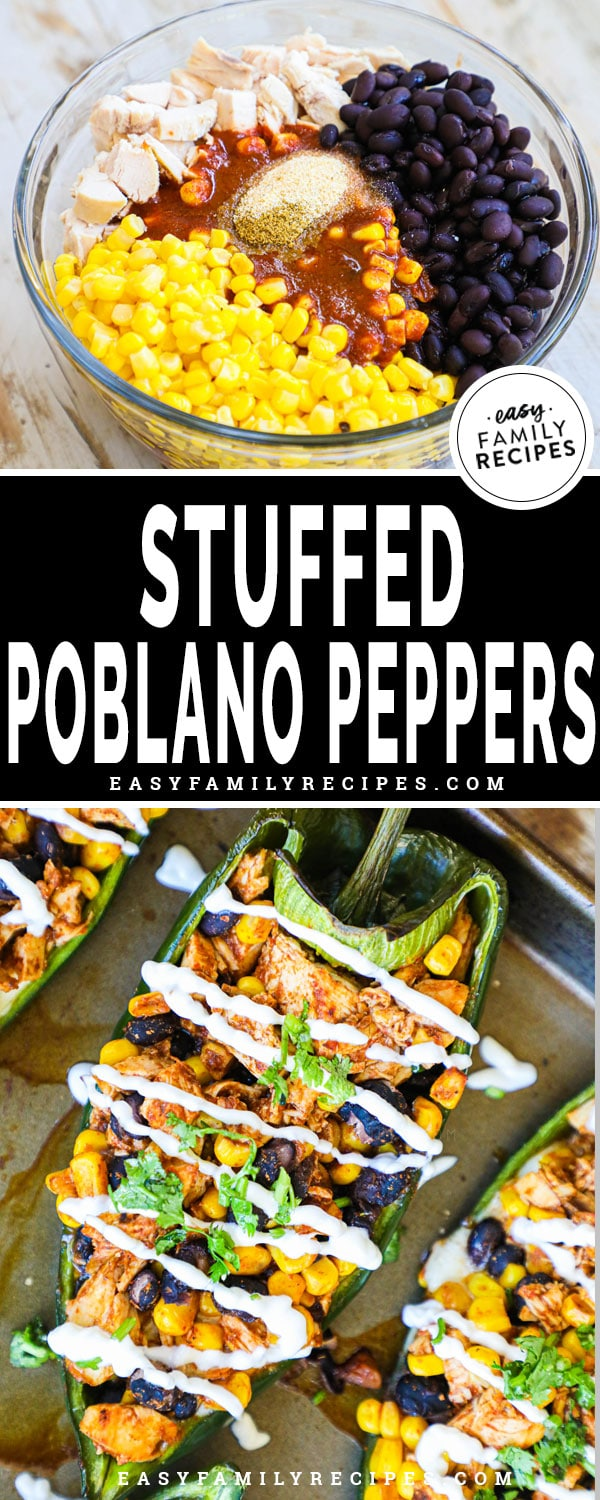Ingredients for stuffed poblano peppers before mixing in a bowl, then stuffed in a pepper