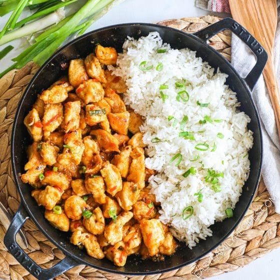 Firecracker Chicken with Rice in a Skillet