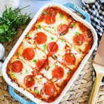 Pizza Ravioli Lasagna in a casserole dish