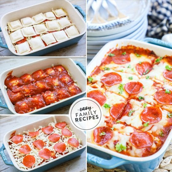 Step by step for how to make lazy lasagna with ravioli