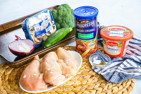 Ingredients for Baked Chicken Cutlets with Roasted Veggies