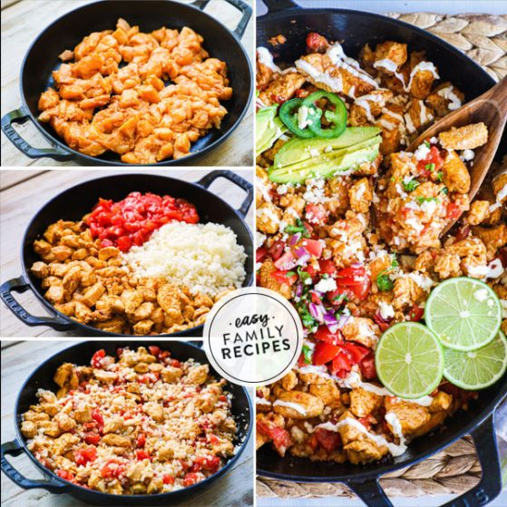 Steps for making Burrito Bowls with chicken and cauliflower rice
