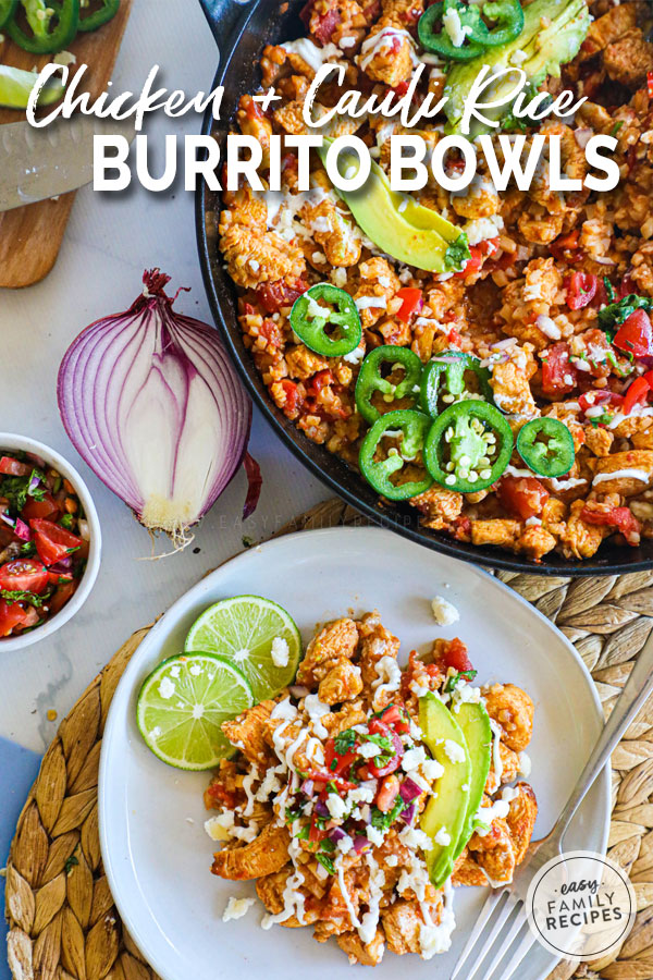 Healthy Chicken Burrito bowl scooped from the pan onto a plate
