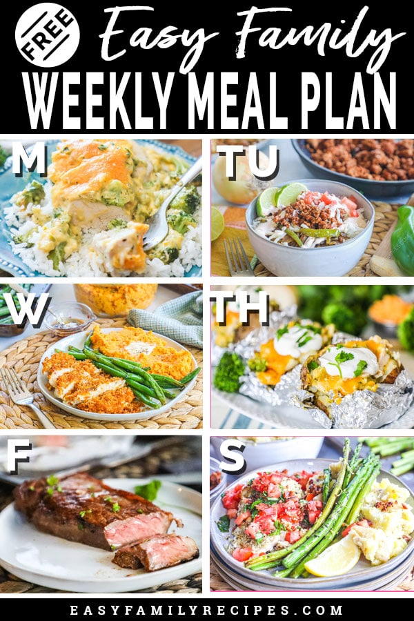 Free Meal Plan for each day of the week
