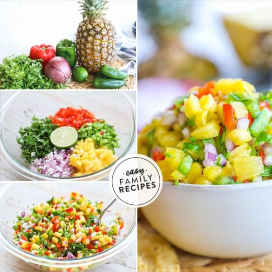 Process photos for how to make pineapple salsa