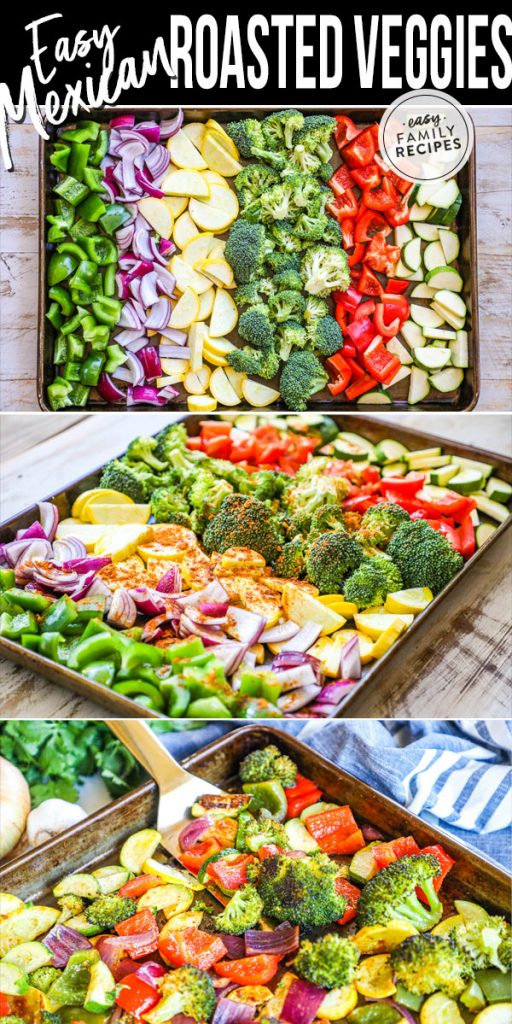 Process photos for how to make Mexican Roasted Vegetables side dish