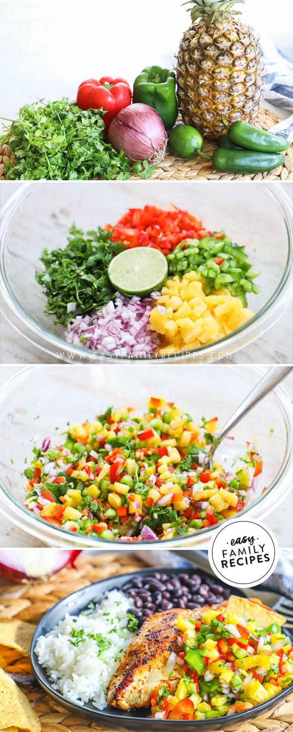 Ingredients for Pineapple Salsa including fresh pineapple, onion, red pepper, lime and cilantro