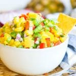 Fresh pineapple salsa with chips