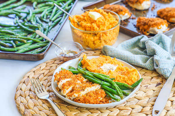 Spicy Maple Chicken served with green beans and sweet potatoes