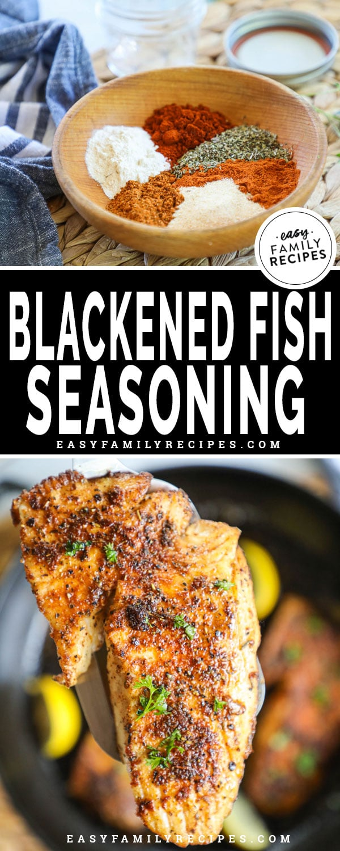 Ingredients for blackened fish seasoning including garlicc powder, onion powder, Italian seasoning, paprika, cayenne