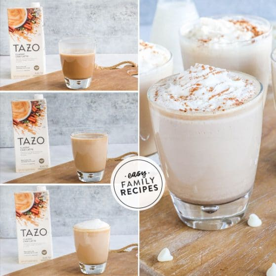 step by step for making White Chai Tea Latte recipe