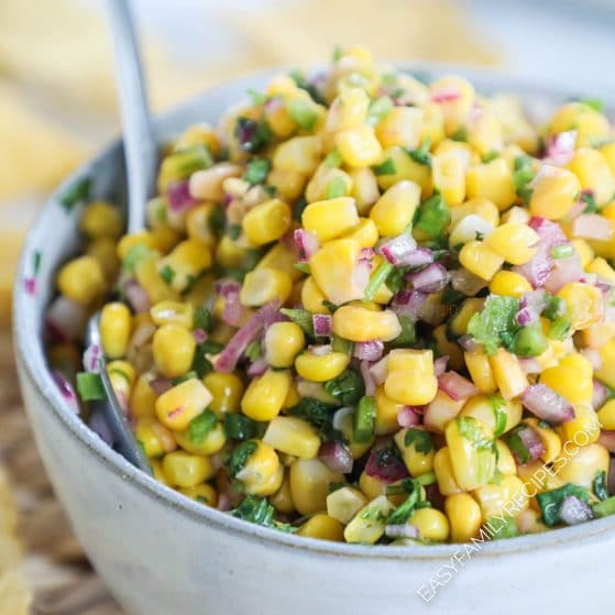Large bowl of chipotle corn salsa
