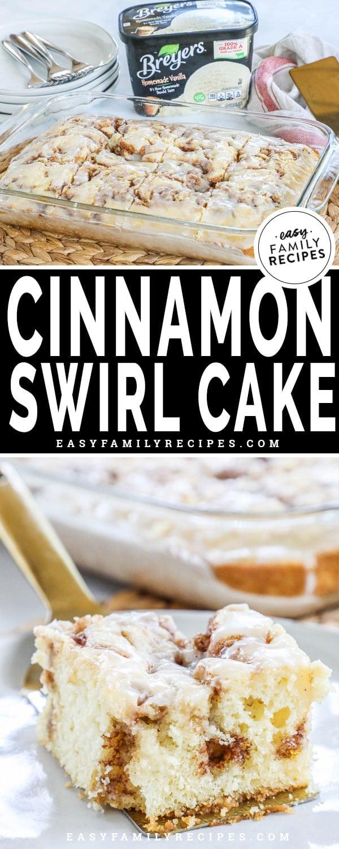 Cinnamon Swirl Cake in a pan served for a sweet breakfast