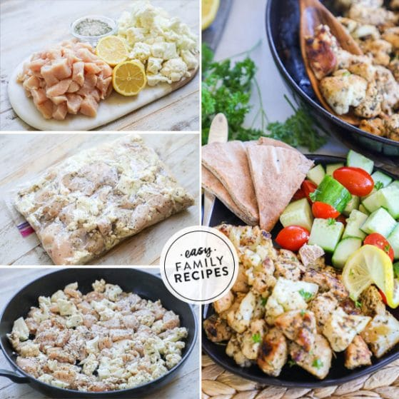 Step by step for making chicken and cauliflower skillet