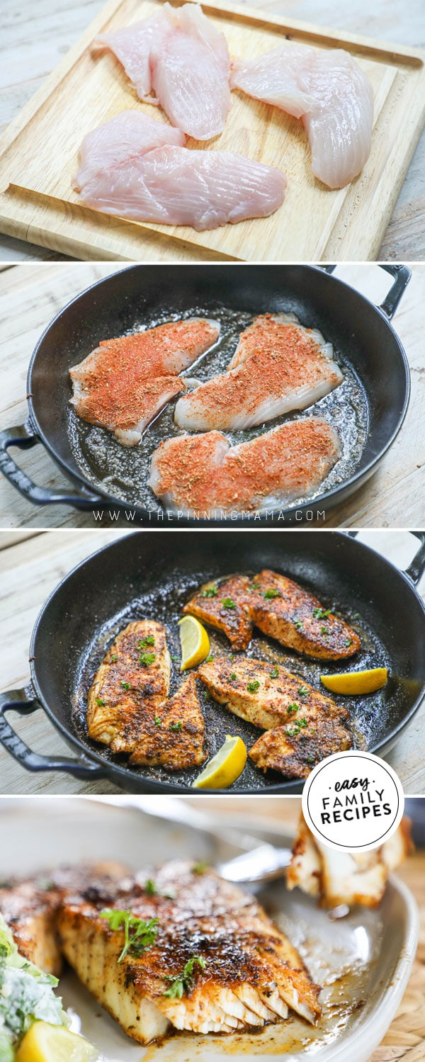 Process photos for how to cook blackened fish in cast iron skillet