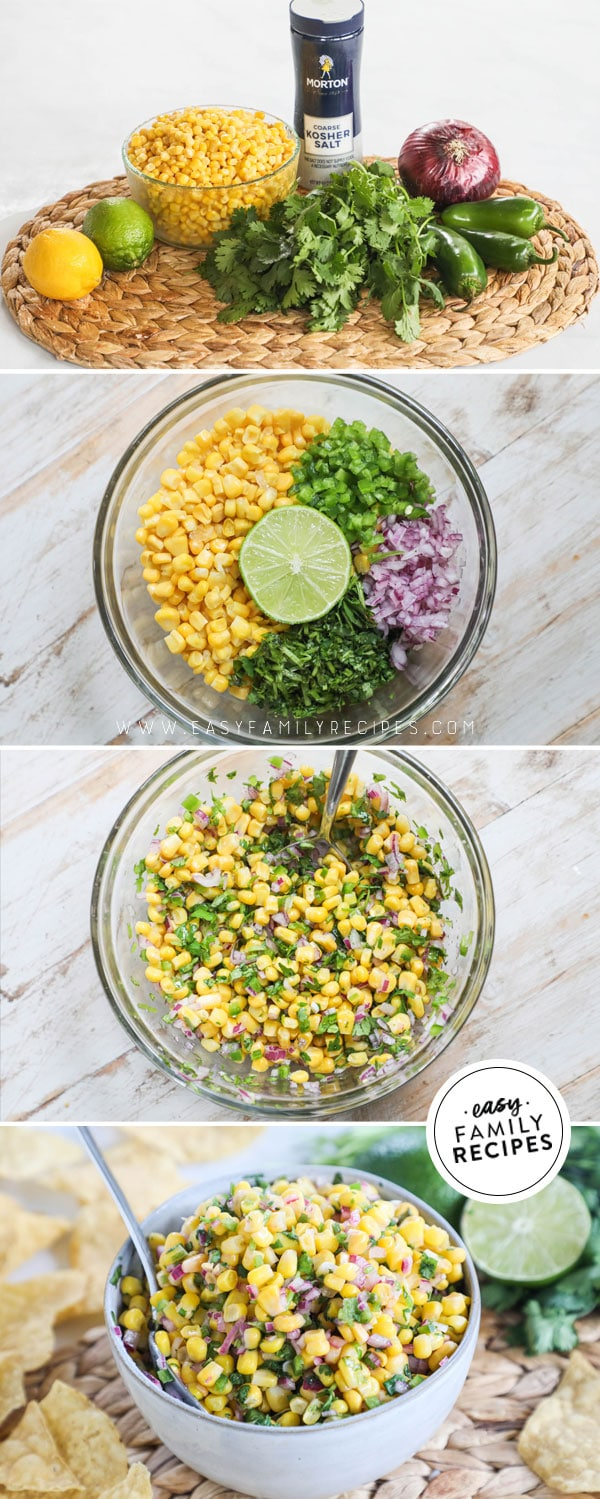 Process photos for how to make chipotle corn salsa