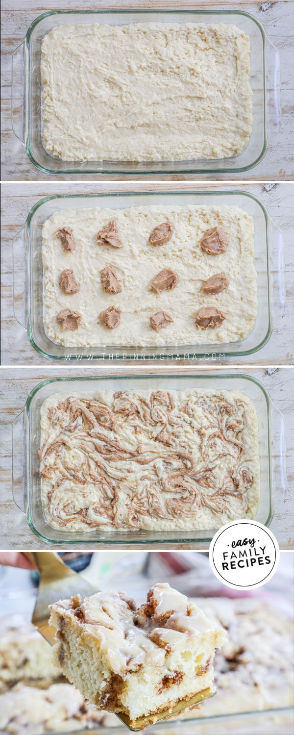 Process photos for how to make cinnamon swirl cake