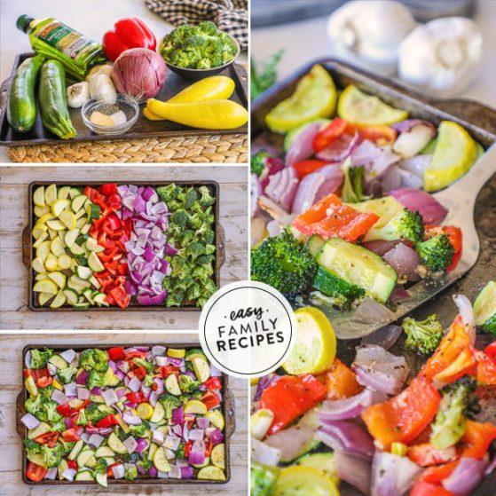 Steps for making garlic roasted vegetables