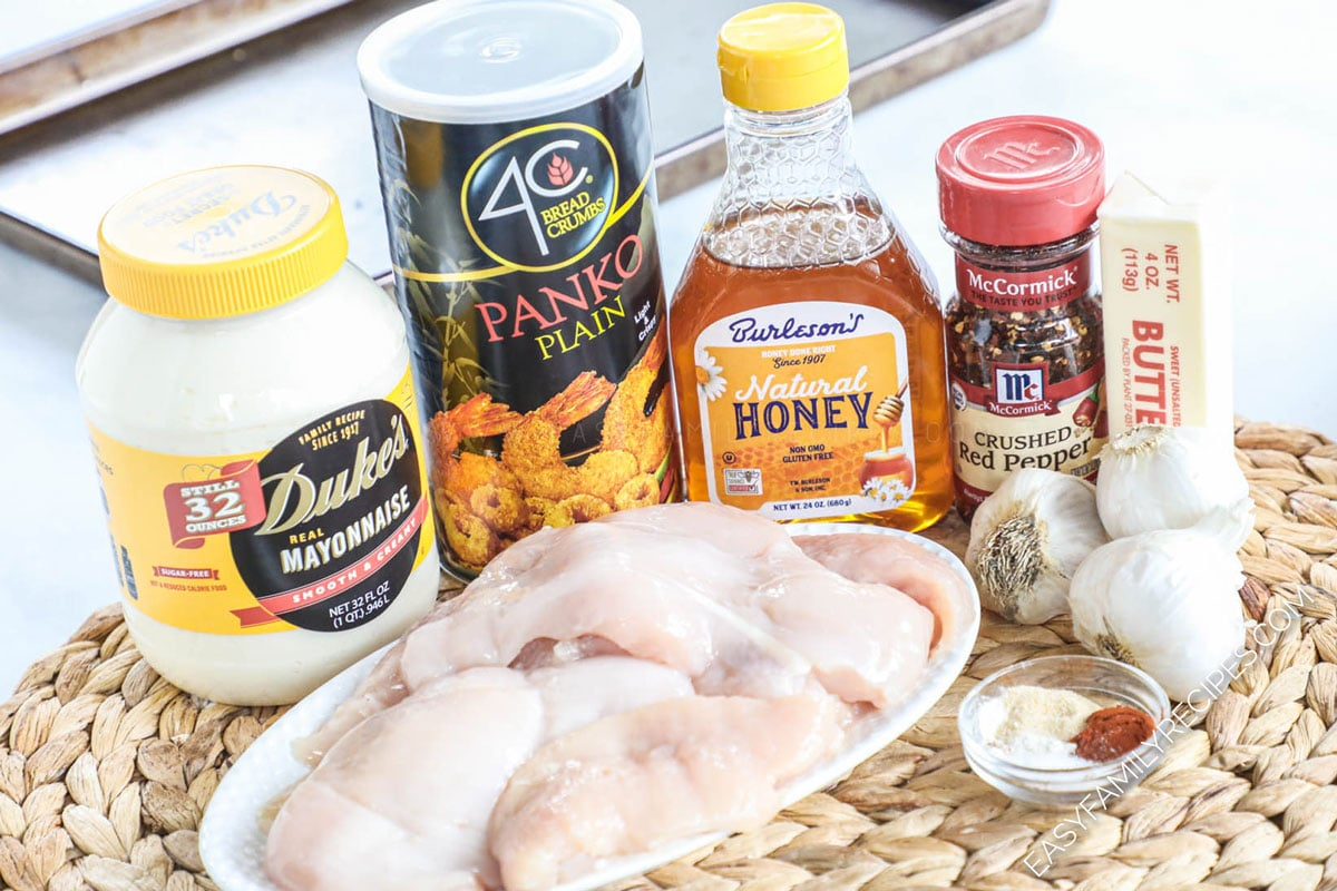 Ingredients for Panko chicken - chicken breast, panko bread crumbs, mayonnaise, honey