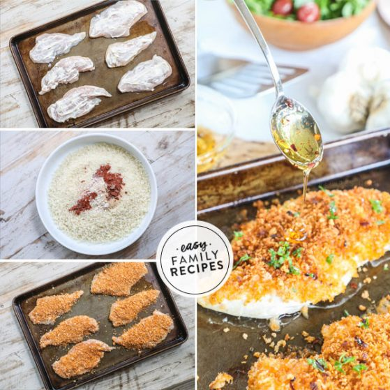 Steps for making panko crusted chicken