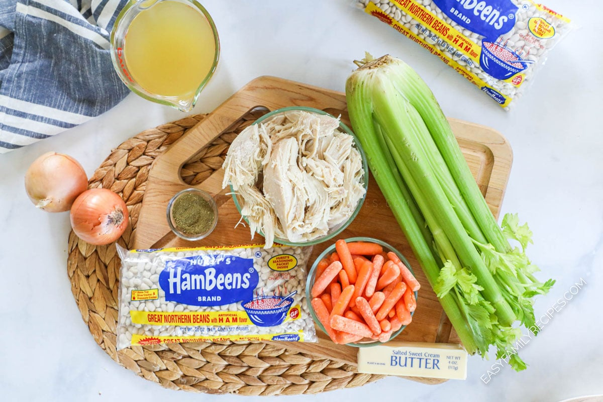 Ingredients for Turkey Bean Soup including leftover turkey, celery, carrots, great northern beans, onion, broth
