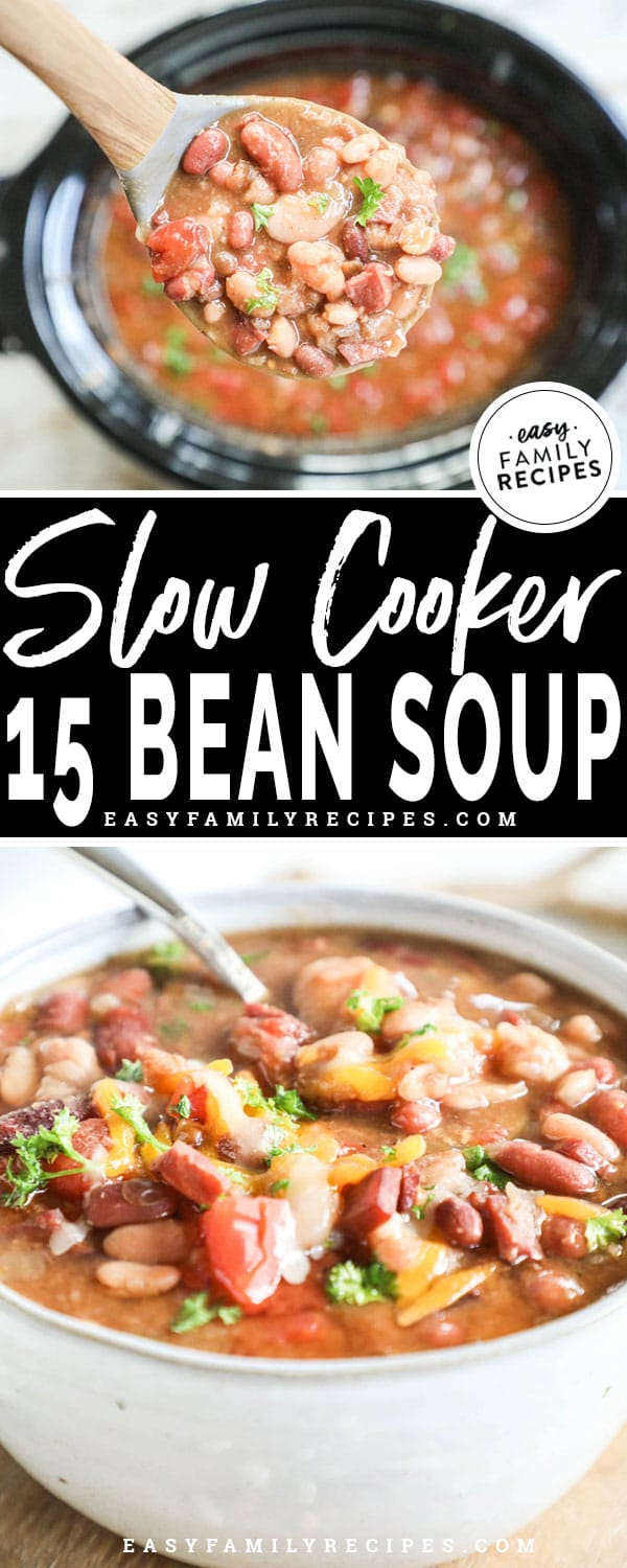 Scooping 15 bean soup out of the crockpot to serve