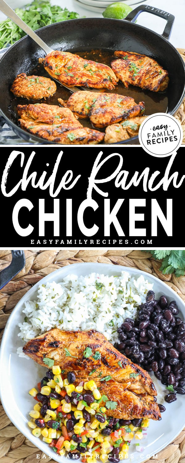 Chile Ranch Chicken plated with rice and beans