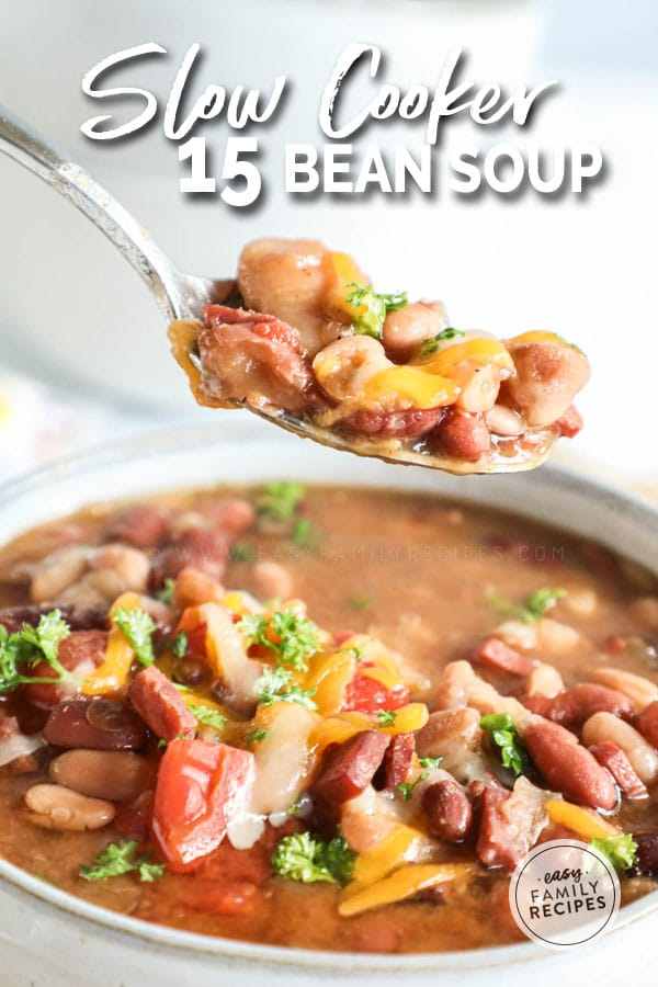Spoonful of thick and hearty 15 bean soup