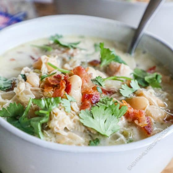 Bowl of Bacon Ranch White Chicken Chili