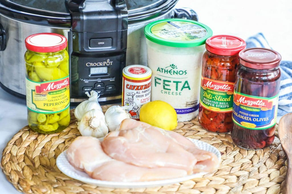 Ingredients for Greek Chicken and vegetables made in the crock pot