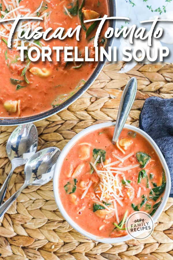 Tuscan Tomato Tortellini Soup topped with parmesan served in a bowl.