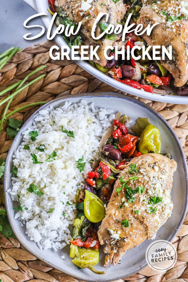 Plated Crock Pot Greek Chicken served with vegetables and rice