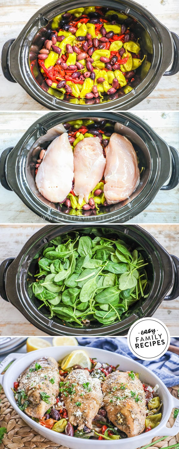 Process photos for how to make greek chicken in the crock pot