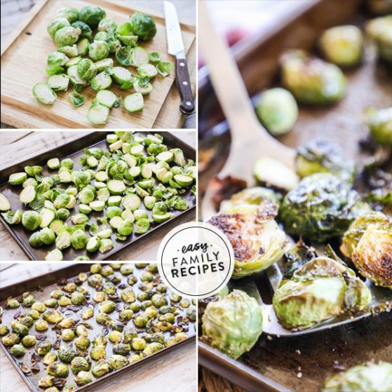 Steps for making oven roasted brussel sprouts