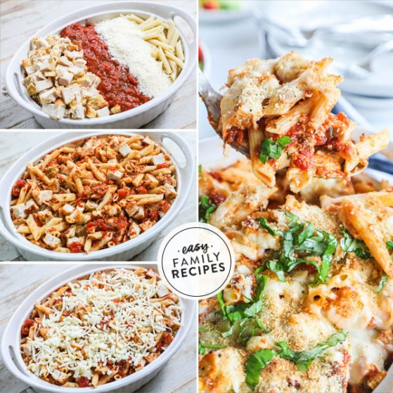 Steps for making chicken parm casserole recipe 1. Place noodles, sauce, cheese, and chicken in casserole dish. 2. Mix. 3 Top with cheese, bake and add bread crumbs . 4. Scooping the Baked Casserole garnished with basil