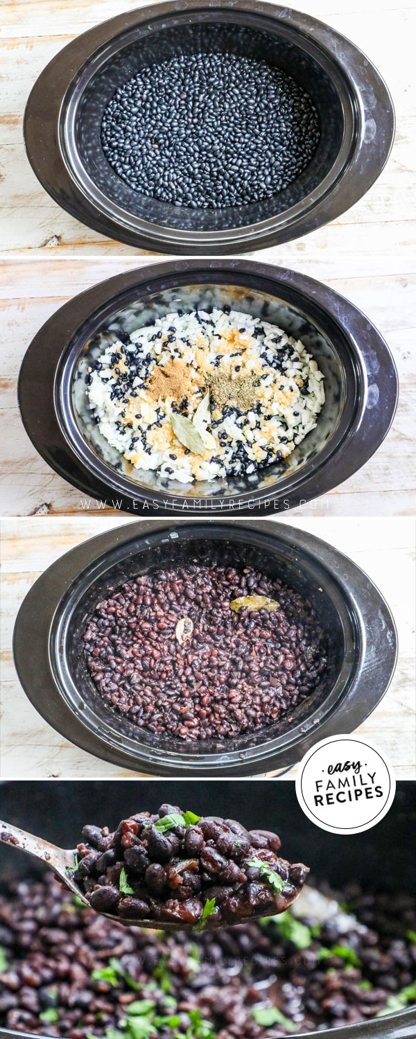 Process photos for making dried black beans in the crockpot