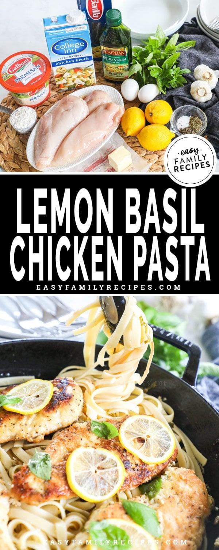 Ingredients for Lemon Basil Chicken Pasta including chicken breast, pasta, lemon juice, butter, olive oil