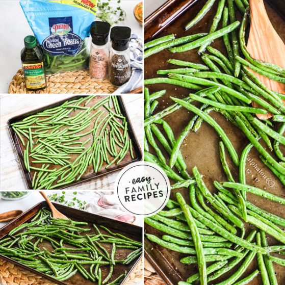 Step by step photo collage for making green beans in the oven- 1. Gather ingredients- green beans, olive oil, salt and pepper. 2. Spread on a baking sheet and toss with seasoning. 3. Bake until tender