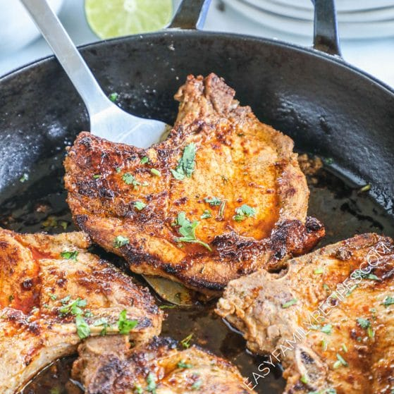 4 Southwest Ranch Pork Chops Seared in a skillet